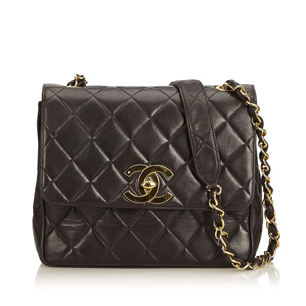 Brown Chanel Quilted Lambskin Leather Flap Bag