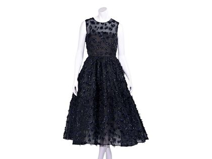black-navy-blue-oscar-de-la-renta-fil-coupe-cocktail-dress