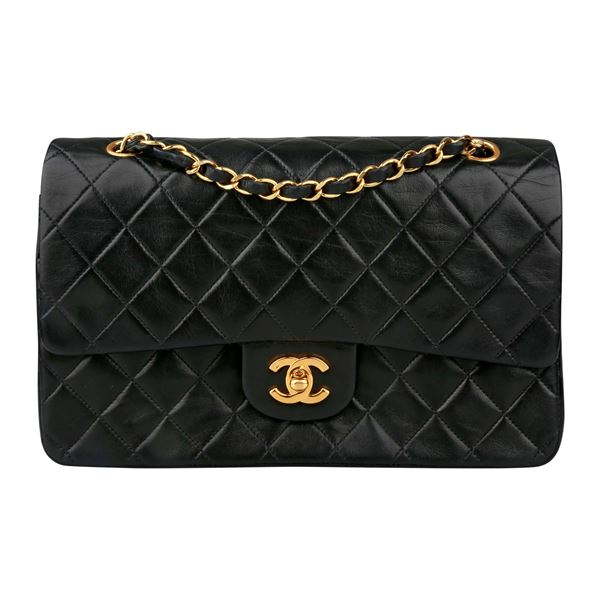 Chanel Classic Medium Black Flap Bag With Gold
