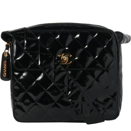 Chanel Patent Turn-lock Logo Charm Shoulder Bag Black