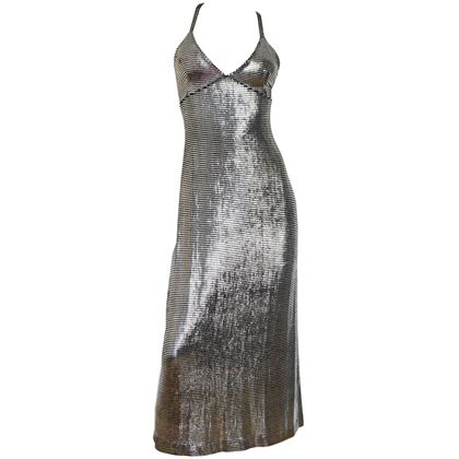 PACO RABANNE Liquid Silver Metallic Evening Dress Size XXS-XS