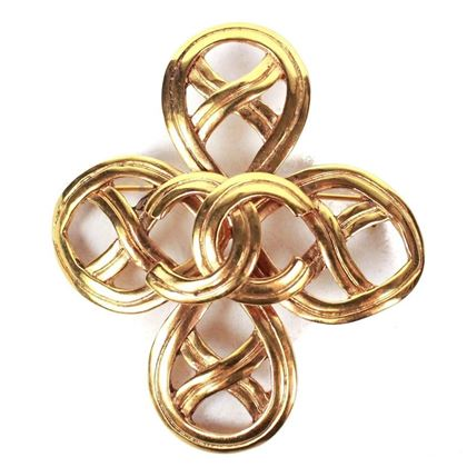 chanel-brooch-pin-cc-logo-gold-woven-loop-vintage-rare-96p-pre-owned-used