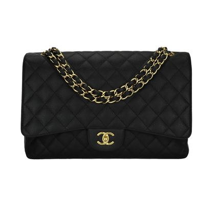chanel-single-flap-maxi-black-caviar-gold-hardware-2009