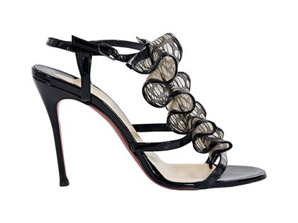 black-christian-louboutin-ruffled-lace-sandals