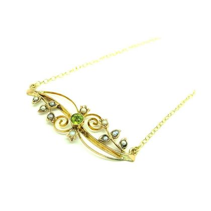 antique-edwardian-1912-seed-pearl-peridot-9ct-gold-necklace