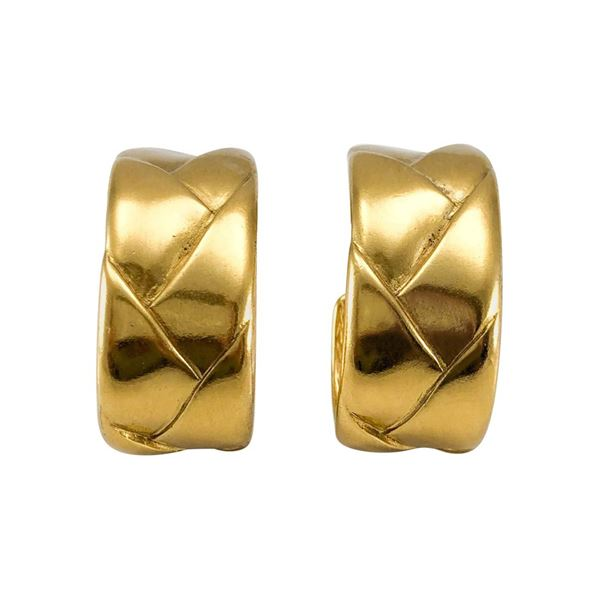 92e57fe9819 Yves Saint Laurent Gold-Plated Quilted Hoop Earrings - 1980's