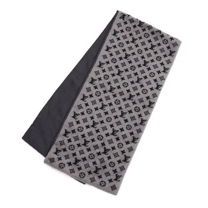 louis-vuitton-logomania-lv-logo-gray-black-alpaca-fleece-x-wool-x-silk-scarf