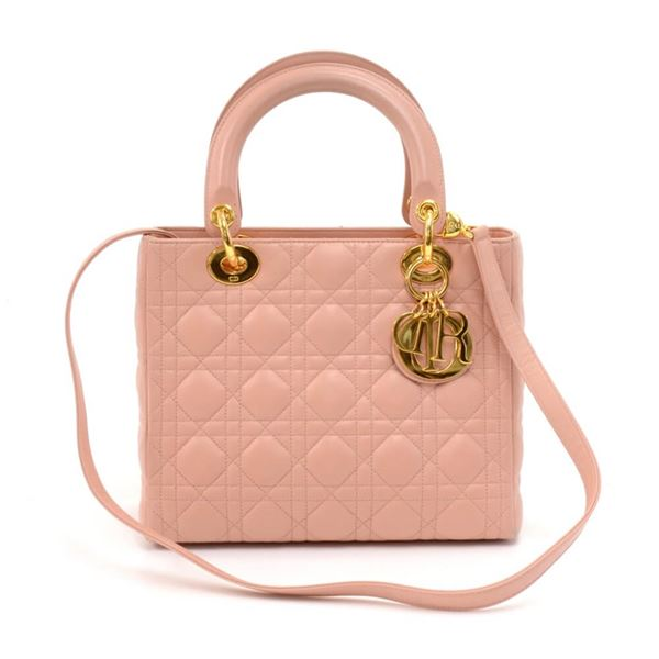 ... Cannage Leather Handbag + Strap. vintage-christian-dior-lady-dior-medium -pink-quilted- 55a70e74fbba8