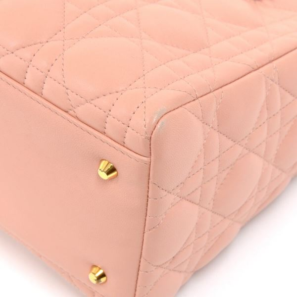 6ad95ed63550 Vintage Christian Dior Lady Dior Medium Pink Quilted Cannage Leather ...