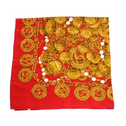 chanel-red-medallion-chain-beads-silk-scarf