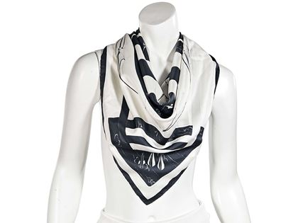 white-black-hermes-archery-silk-scarf