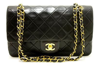 chanel-255-double-flap-10-chain-shoulder-bag-black-quilted-lamb-17