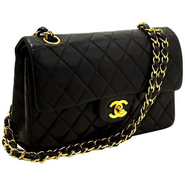 852ad81484bd29 Chanel 2.55 Double Flap Small Chain Shoulder Bag Lambskin Black