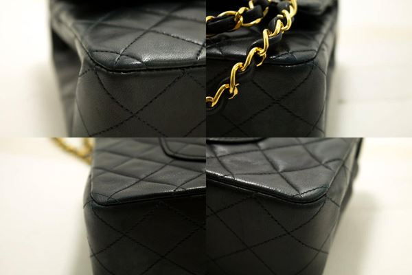 chanel-255-double-flap-10-chain-shoulder-bag-black-quilted-lamb-18