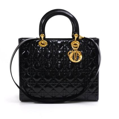 vintage-christian-dior-lady-dior-large-black-quilted-cannage-patent-leather-handbag-strap