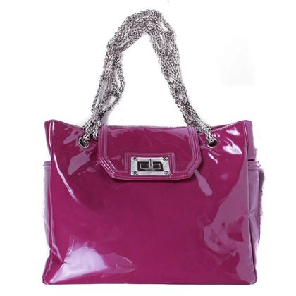 chanel-large-pink-magenta-patent-leather-tote-bag-silver-chain-cc-turnlock-clasp-pre-owned