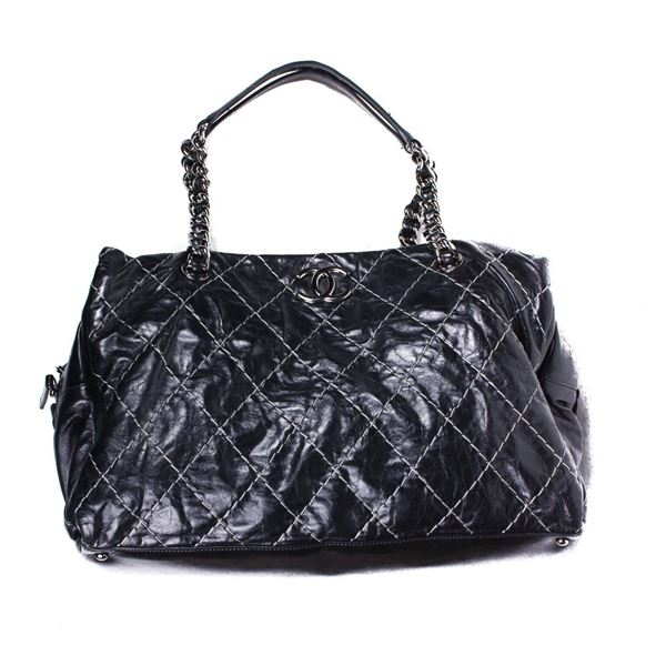 Chanel Large Glazed Tote Black Leather Stitch Quilted Silver Cc Logo ...