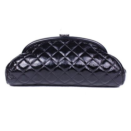 chanel-clutch-black-patent-leather-cc-logo-timeless-mademoiselle-bag-handbag-pre-owned-used
