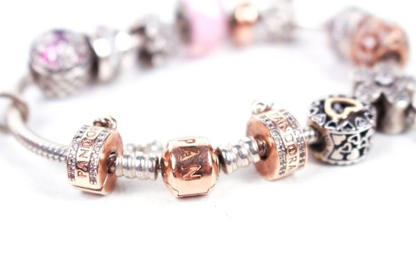 pandora-13-charm-bracelet-floral-pink-theme-sterling-silver-gold-pre-owned-used
