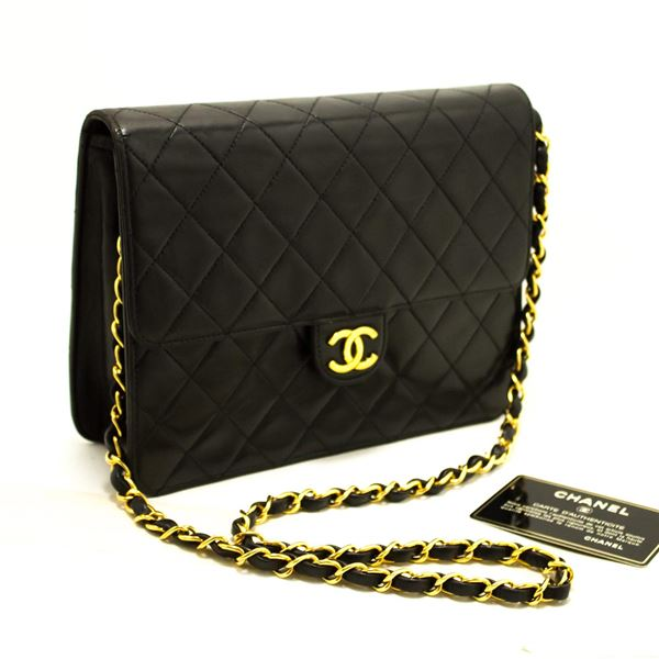 e3c5c61bd2d6 Chanel Small Chain Shoulder Bag Black Clutch Flap Quilted Lambskin