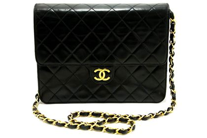 chanel-small-chain-shoulder-bag-black-clutch-flap-quilted-lambskin-4