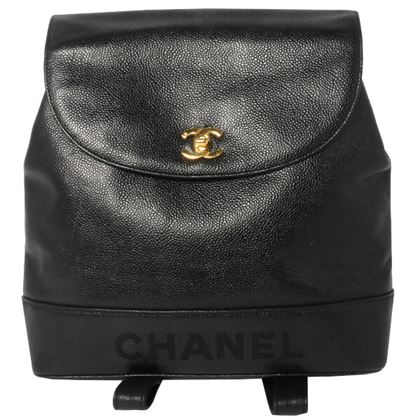 chanel-caviar-skin-turn-lock-logo-embroidered-backpack-black