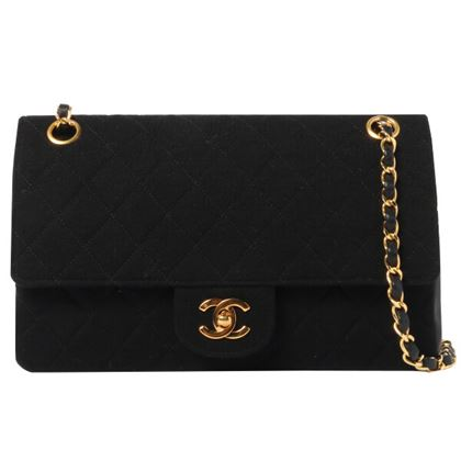 chanel-cotton-leather-straight-flap-chain-bag-black