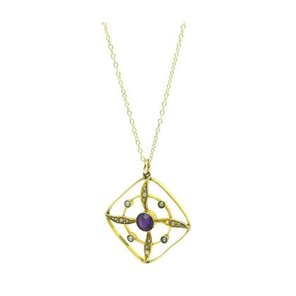 antique-edwardian-amethyst-pearl-9ct-gold-pendant-necklace