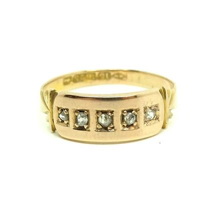 Antique 1882 Victorian Diamond 15ct Rose Gold Ring
