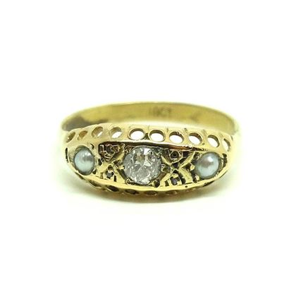 antique-victorian-old-european-cut-diamond-pearl-18ct-gold-ring