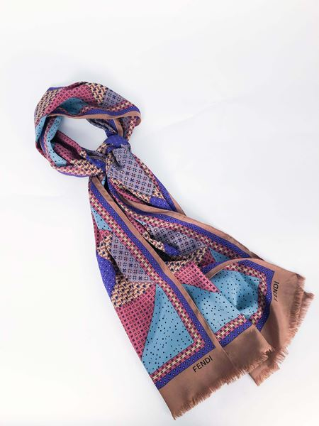 50bb30090d Fendi Silk Scarf With Geometric Pattern
