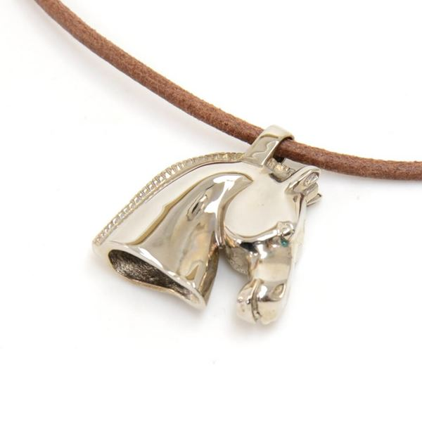 hermes-bijouterie-fantaisie-silver-metal-horse-head-motif-brow-leather-necklace