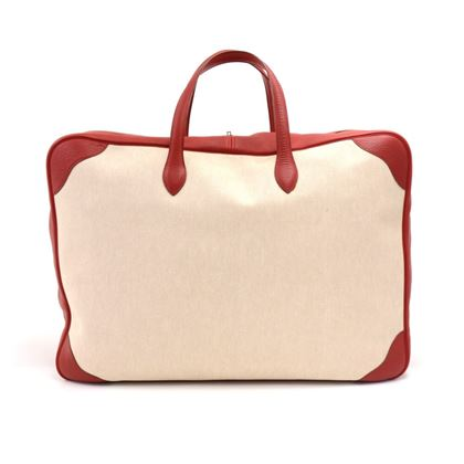 hermes-beige-canvas-x-red-leather-large-soft-sided-suitcase-travel-bag