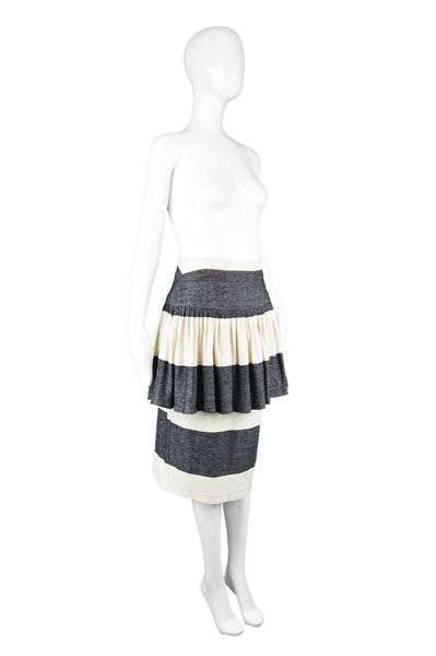 Norma Kamali 1980s Striped Peplum Skirt