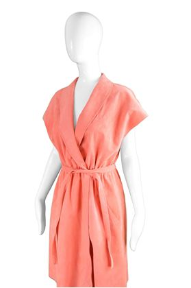 Halston 1970s Ultrasuede Peach Day Dress