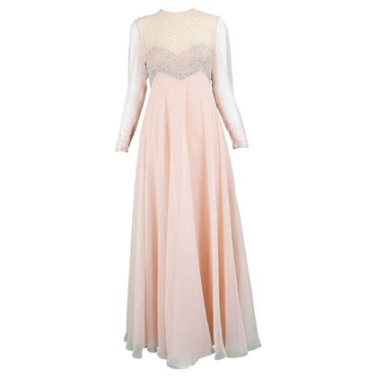 Victoria Royal 1960s Peach Maxi Hand Beaded Gown