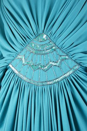 Marjon Couture 1970s Turquoise Jersey Dress