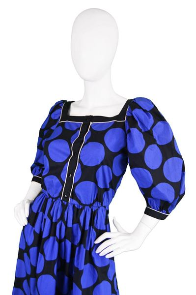 Louis Feraud 1980s Puff Sleeve Polka Dot Evening Dress