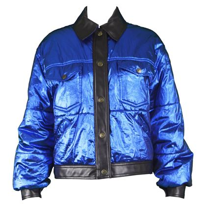 Moschino 1990s Metallic Blue Puffer Jacket