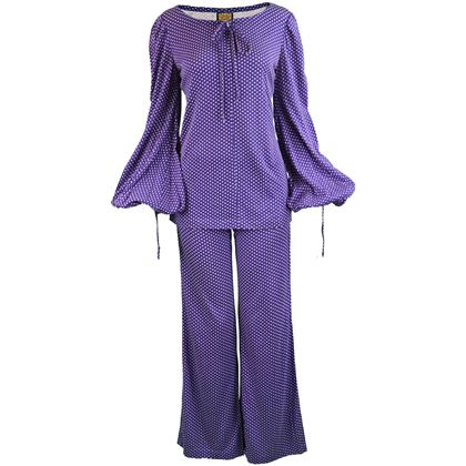 Biba 1970s Purple Polka Dot Two Piece Trouser Suit