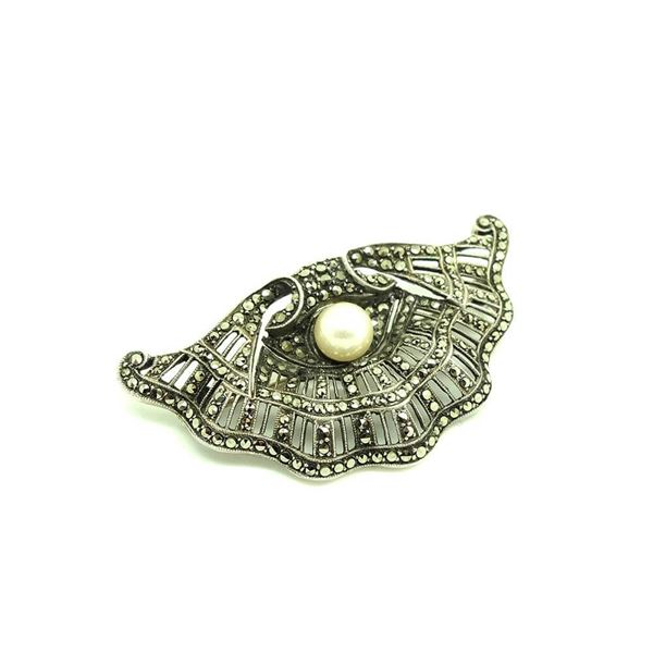 vintage-1930s-pearl-marcasite-silver-shell-brooch