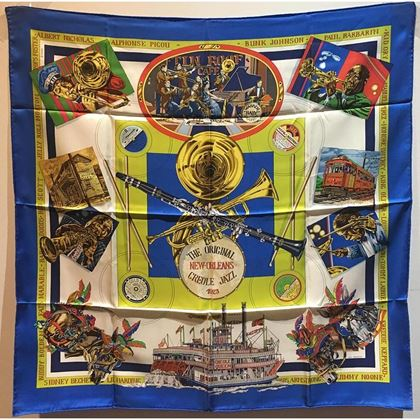 hermes-vintage-new-orleans-creole-jazz-silk-scarf-in-blue-c1990s