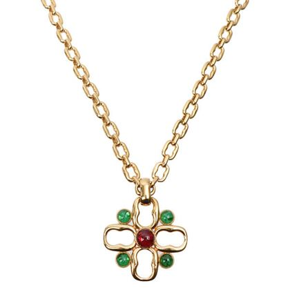 gucci-cross-motif-color-stone-necklace-redgreen