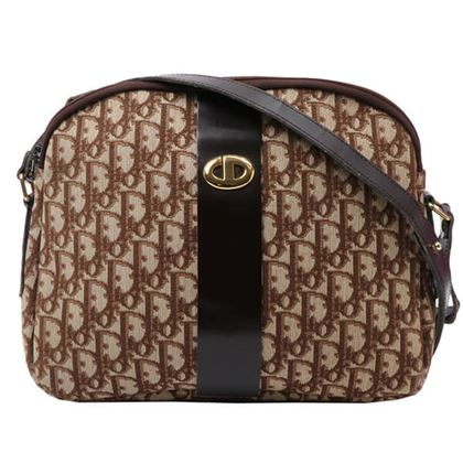 dior-trotter-pattern-logo-plate-shoulder-bag-brown