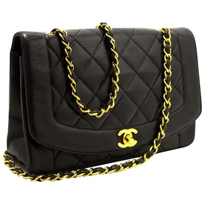 chanel-diana-chain-flap-shoulder-crossbody-bag-black-quilted-lamb-10