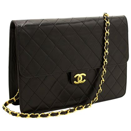 chanel-chain-shoulder-bag-black-clutch-flap-quilted-lambskin-10