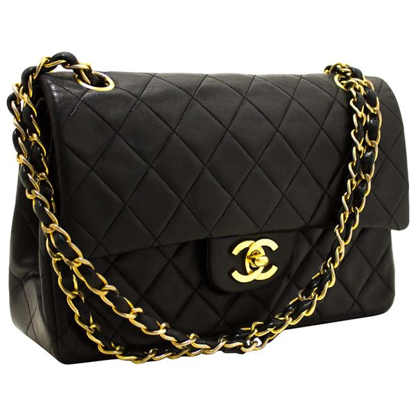 97ab23cb24c2 Chanel 2.55 Double Flap Small Chain Shoulder Bag Lambskin Black