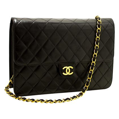 chanel-chain-shoulder-bag-black-clutch-flap-quilted-purse-lambskin-5