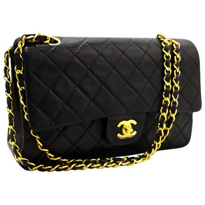 chanel-255-double-flap-10-chain-shoulder-bag-black-quilted-lamb-19