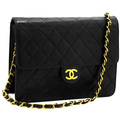 chanel-small-chain-shoulder-bag-black-clutch-flap-quilted-lambskin-5